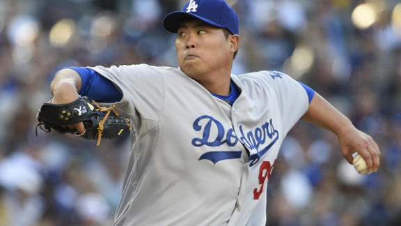 Hyun-Jin Ryu pitches seven scoreless in no-decision against Padres